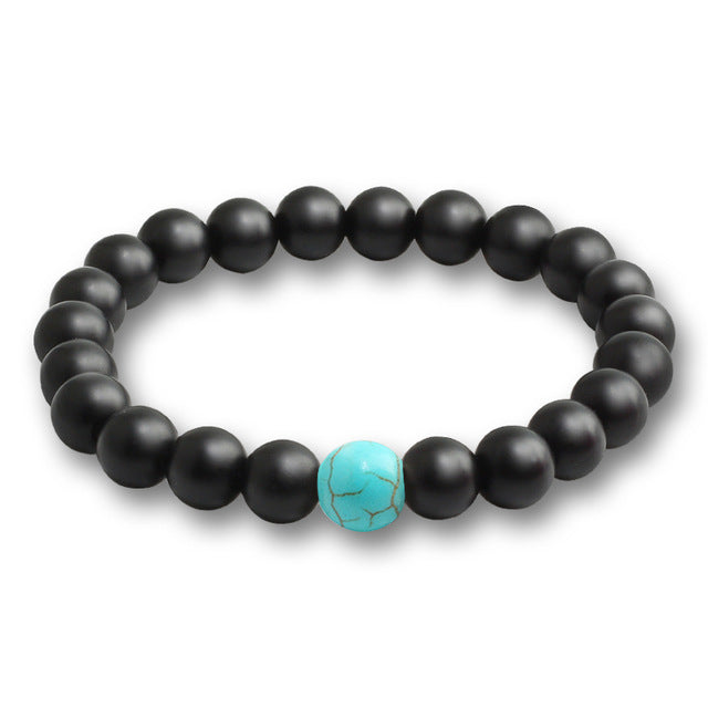 Black Stone Bead Bracelet Blue