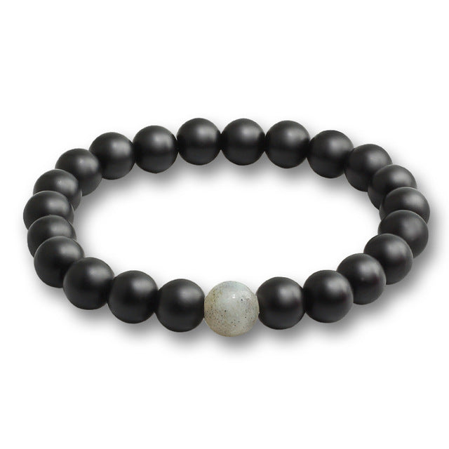 Black Stone Bead Bracelet Grey