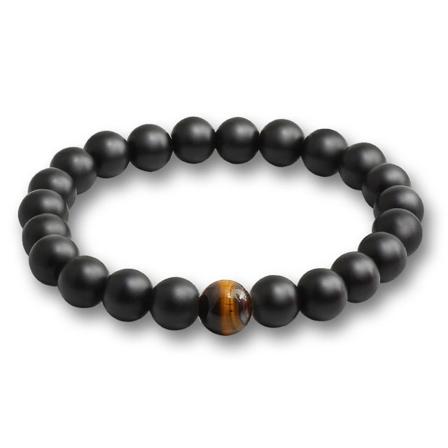 Black Stone Bead Bracelet Tiger's Eye