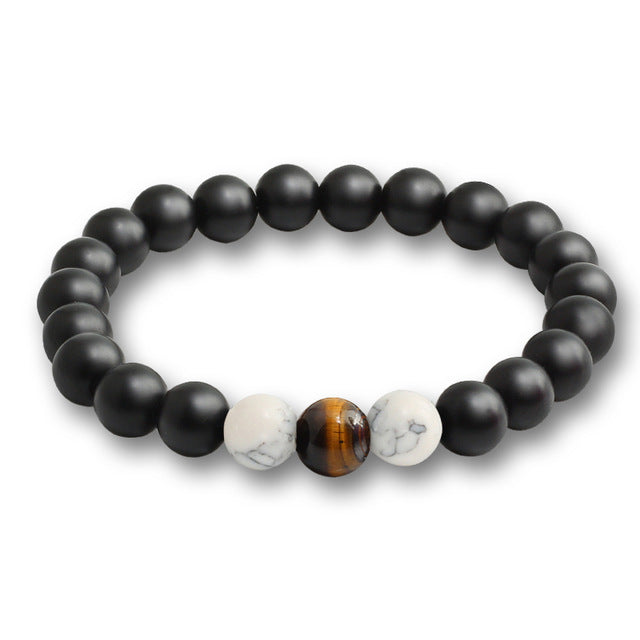 Black Stone Bead Bracelet Tiger's Eye and White Marble