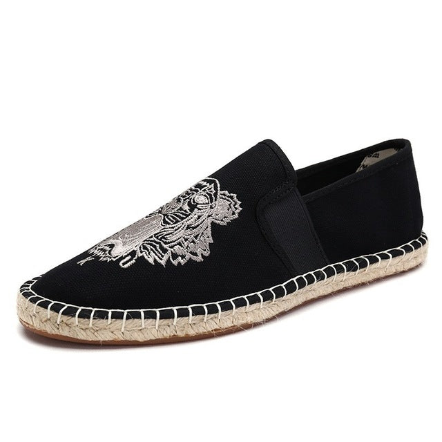 Tiger canvas slip-on espadrille Black/beige