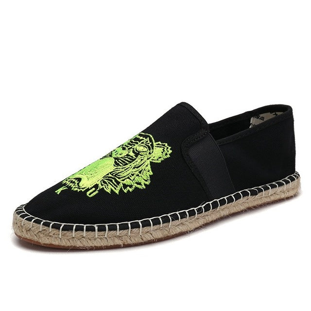Black/green tiger canvas slip-on espadrille