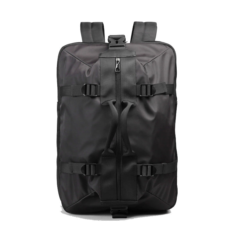 Large Capacity Canvas Backpack Black Front View