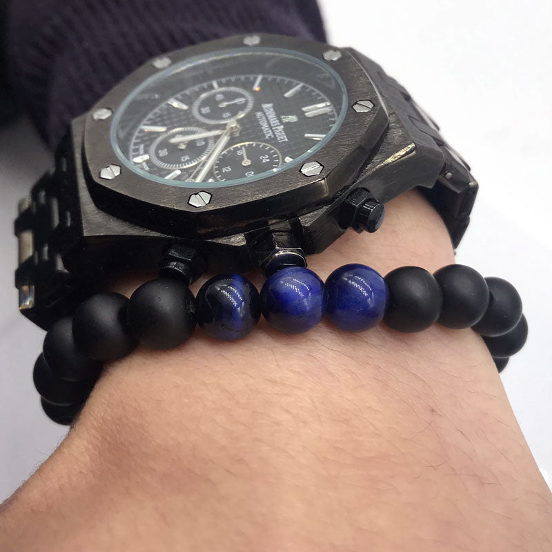 Stone Bead Bracelet Matte Black and Blue Multi on Wrist