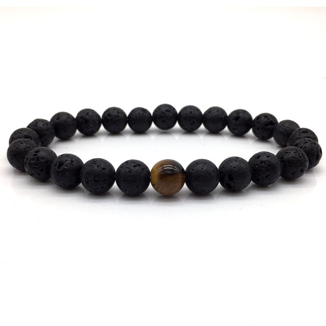 Stone Bead Bracelet Matte Black and Tigers Eye