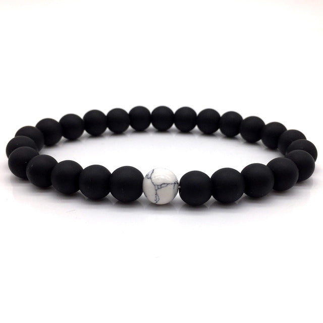 Stone Bead Bracelet Matte Black and White Marble