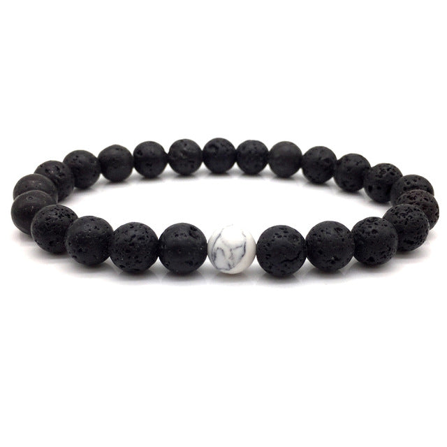 Stone Bead Bracelet Black Volcanic and White Marble