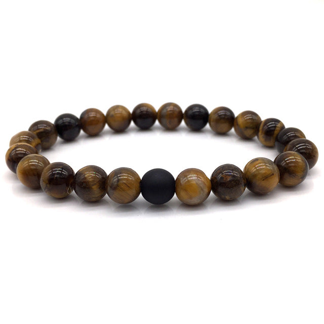 Brown Stone Bead Bracelet with Matte Black Bead