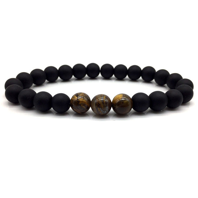 Stone Bead Bracelet Matte Black and Tigers Eye Multi