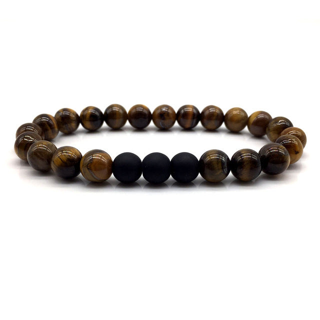 Brown Stone Bead Bracelet with Multi Matte Black Beads