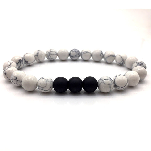 White Stone Bead Bracelet Marbled with Multi Black Bead