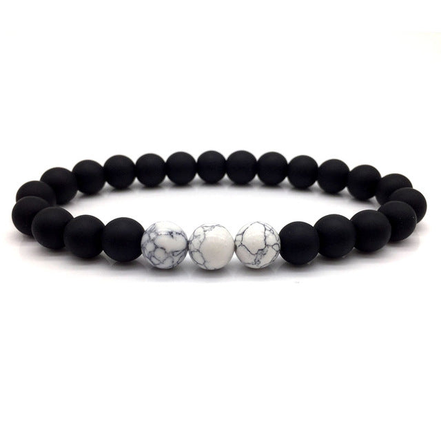 Stone Bead Bracelet Matte Black and White Marble Multi