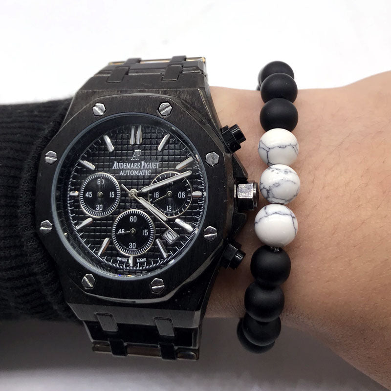 Stone Bead Bracelet Black Polished on Wrist