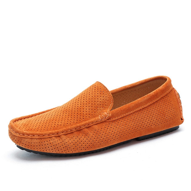 PERFORATED SLIP-ON SUEDE LOAFER