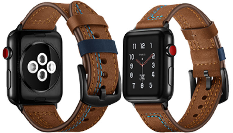 LEATHER WATCH BAND WITH STITCH DETAIL FOR APPLE WATCH BROWN