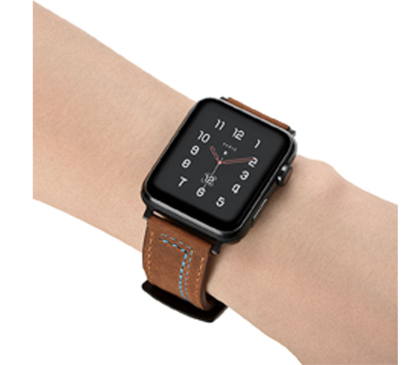 LEATHER WATCH BAND WITH STITCH DETAIL FOR APPLE WATCH 38MM TO 44MM