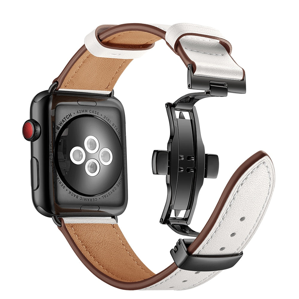 METAL CLASP GENUINE LEATHER WATCH BAND FOR APPLE WATCH 38MM TO 44MM