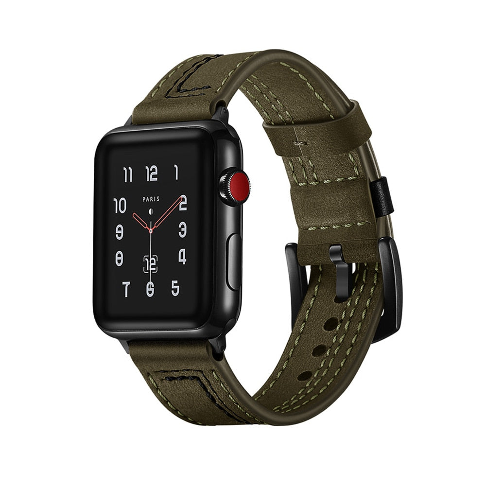 LEATHER WATCH BAND WITH STITCH DETAIL FOR APPLE WATCH 38MM TO 44MM GREEN WITH BLACK STITCH