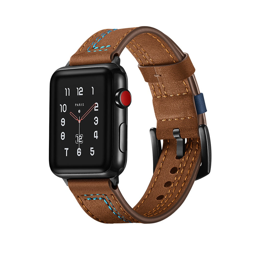 LEATHER WATCH BAND WITH STITCH DETAIL FOR APPLE WATCH 38MM TO 44MM BROWN WITH BLUE STITCH