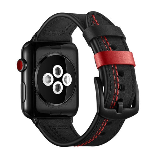 LEATHER WATCH BAND WITH STITCH DETAIL FOR APPLE WATCH 38MM TO 44MM BLACK