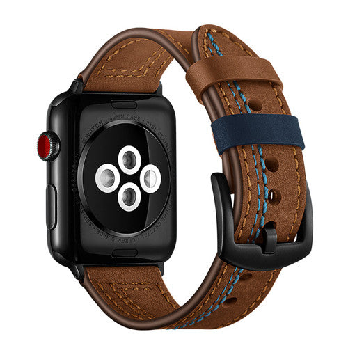 LEATHER WATCH BAND WITH STITCH DETAIL FOR APPLE WATCH 38MM TO 44MM BROWN