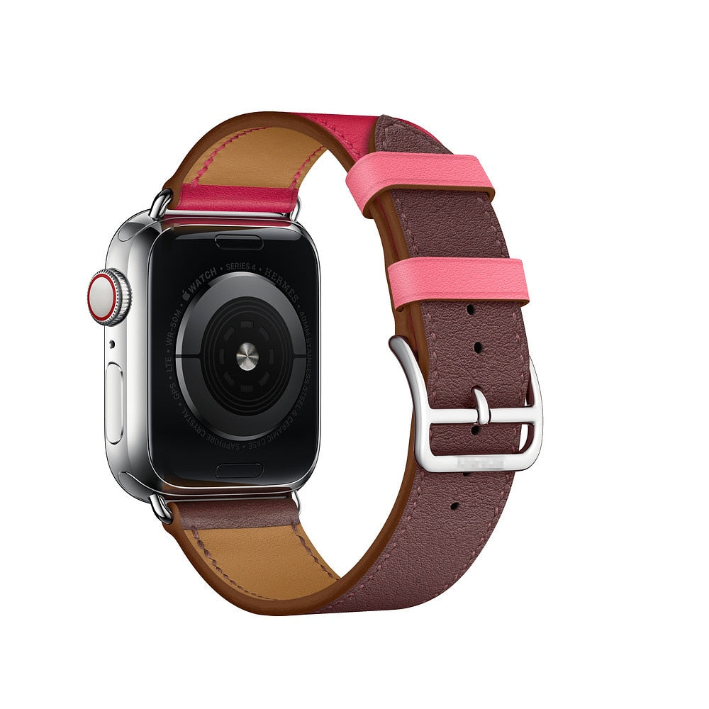 DUAL COLOR LEATHER WATCH BAND FOR APPLE WATCH 38MM TO 44MM