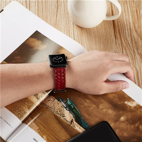 WOVEN GENUINE LEATHER WATCH BAND FOR APPLE WATCH 38MM TO 44MM
