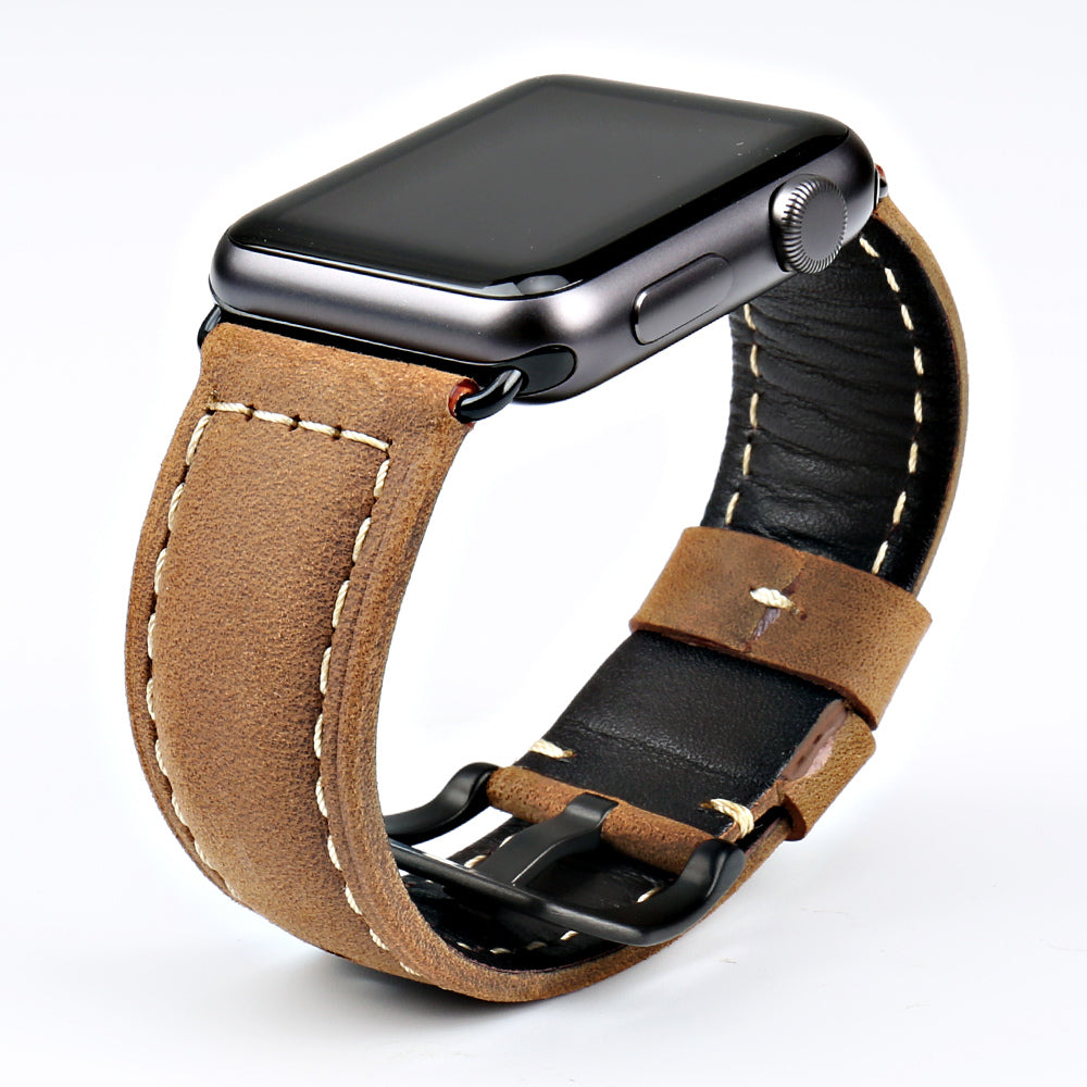 Genuine Leather Watch Band For Apple Watch, 38MM, 42MM Brown Belted