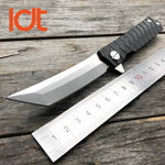 Tanto Folding Knife D2 Blade Steel Handle EDC