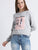Digital Print  Patch Crop Sweatshirt
