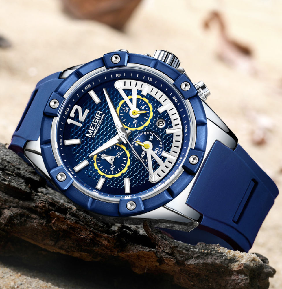 Top Luxury Brand Chronograph Sports Mens Quartz Watch Men Analog Silicone