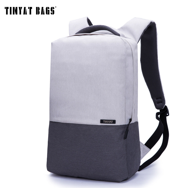 TINYAT Men Laptop Backpack For 15.6 inch USB Charging Backpacks Computer Anti-theft Bags Male Gray Daypack Women Mochila T810