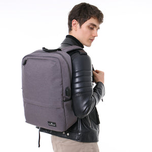 USB Charging Grey Backpack College Students Schoolbag 15.6 Inch Laptop Backpack British Style Smart Backpack Young Large Space