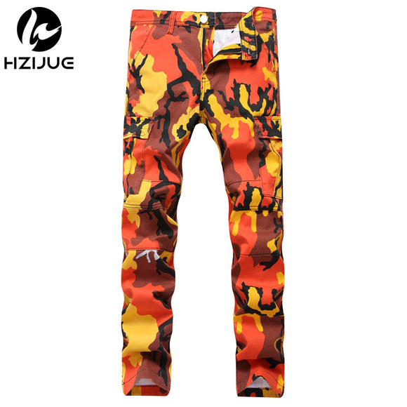 Camo Sweatpants jeans Orange Pink Camouflage Cargo Pants Men and Women