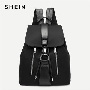 SHEIN Black Highstreet Modern Lady Metal Ring Detail Ziper PU Backpack 2018 Fashion Streetwear Backpacks