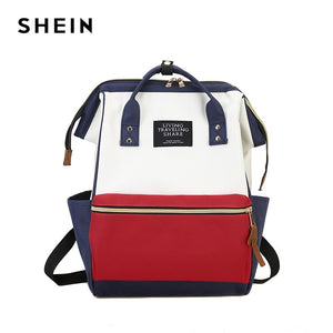 SHEIN Letter Color Block Satchell Large Backpack Multicolor Women Casual Bags Youth Shoulder Bag Schoolbags for Teenager