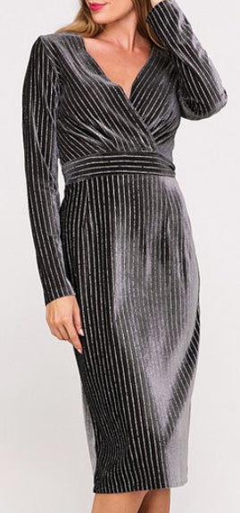 Kitty Gunmetal Velvet Dress
