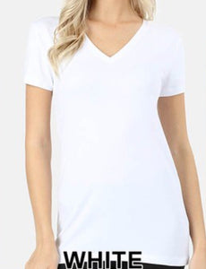 Basic V-Neck Short Sleeve T-Shirt-White
