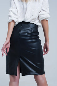 QT-Black Leather Midi Skirt