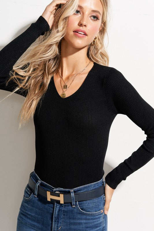 Basically Ribbed Sweater-Black