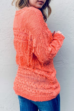Salmon Fringe Sweater