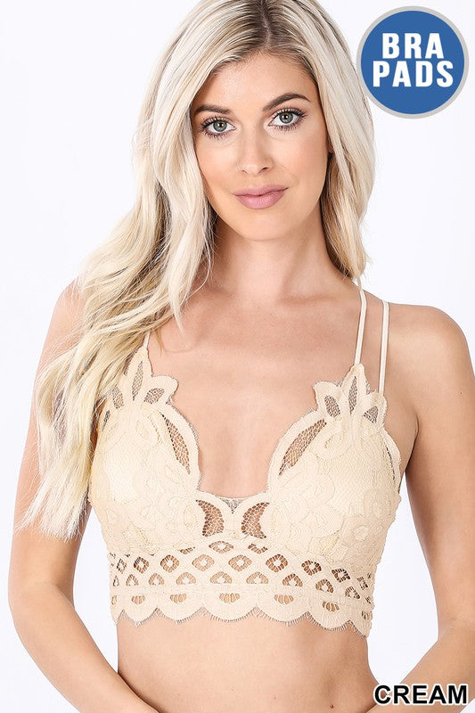 Crochet Lace Bralette-Cream