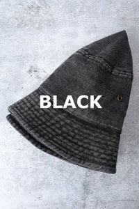 Bucket Hat-Black Denim
