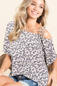 Leopard Shoulder Strap Top