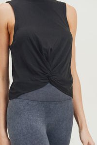 Twist Front Tank Top-Black