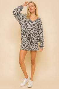 Grey Leopard Lounge Top
