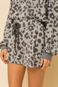 Grey Leopard Lounge Shorts
