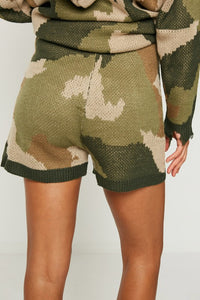Distressed Knit Camo Shorts