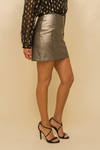 Gold Leather Mini Skirt
