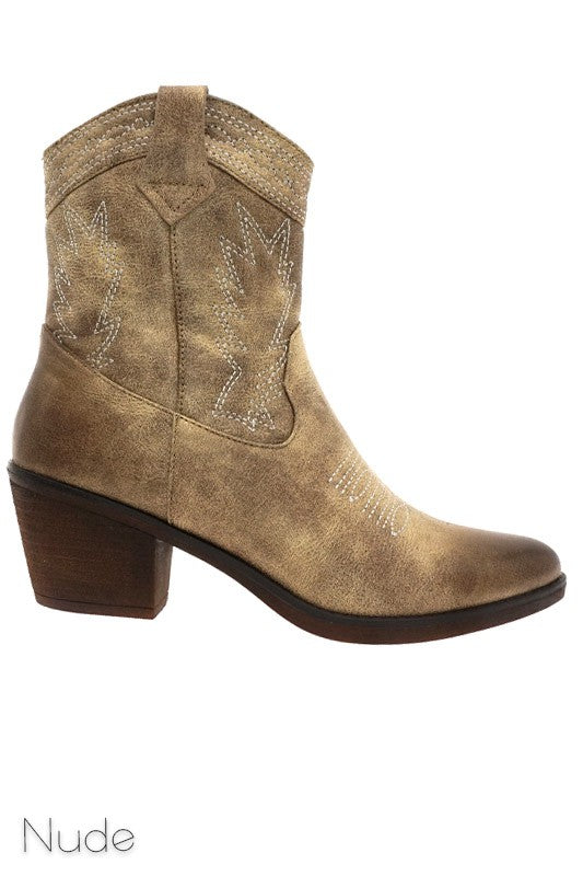 Dakota Western Booties-Nude